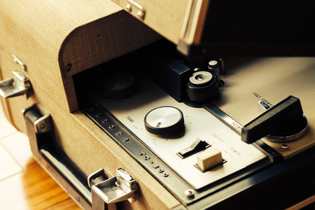 sonorous: Old tape recorder over wooden floor With knobs, buttons and buttons