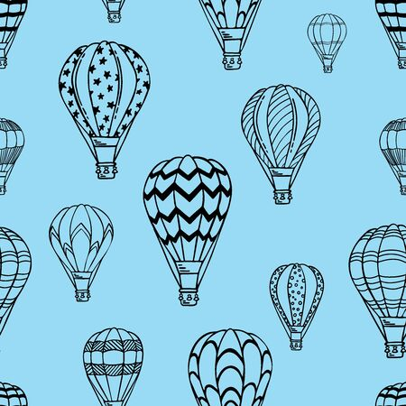 Blue Pattern with air balloons and clouds. Vector illustration. Isolated on white background. Design for air travel or summer vacation tour, bed linen, child wallpaper, wrapping paper, scrapbooking.