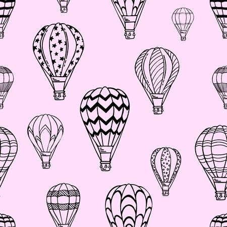 Pink Pattern with air balloons and clouds. Vector illustration.  Isolated on white background. Design for air travel or summer vacation tour, bed linen, child wallpaper, wrapping paper, scrapbooking.