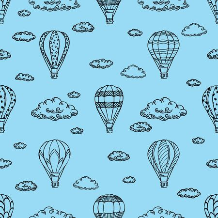 Blue Pattern with air balloons and clouds. Vector illustration.  Isolated on white background. Design for air travel or summer vacation tour, child wallpaper, wrapping paper, scrapbooking.