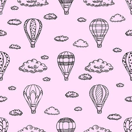Modello rosa con mongolfiere e nuvole. Illustrazione vettoriale. Isolato su sfondo bianco. Design per viaggi aerei o tour delle vacanze estive, carta da parati per bambini, carta da regalo, scrapbooking.