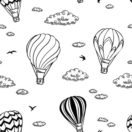 Pattern with air balloons and clouds. Vector illustration.  Isolated on white background. Design for air travel or summer vacation tour, child wallpaper, wrapping paper, scrapbooking.