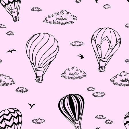 Pink Pattern with air balloons and clouds. Vector illustration.  Isolated on white background. Design for air travel or summer vacation tour, child wallpaper, wrapping paper, scrapbooking.