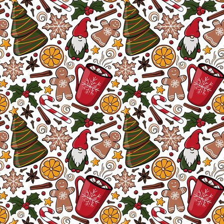 Seamless Christmas pattern with fir tree and mug with hot drink and marshmallow. Endless texture for textile, scrapbook or wrapping paper, cute New year vector pattern. Gingerbread,Holly berries, Star Ilustrace