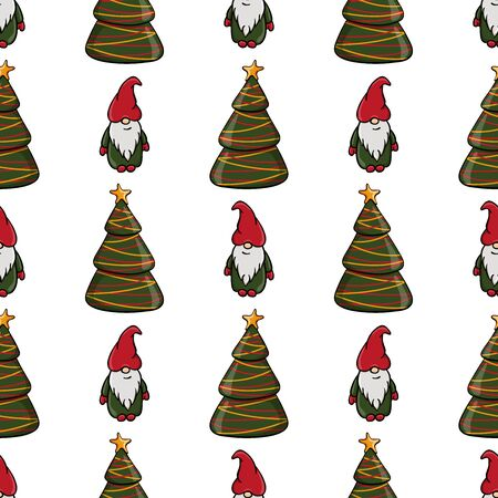 Seamless Christmas pattern with fir tree and dwarf. Endless texture for textile, scrapbook or wrapping paper. Cute New year vector pattern.