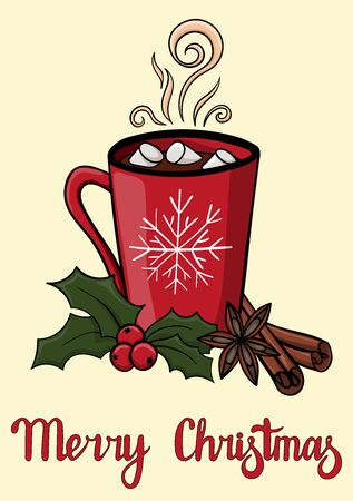 Merry Christmas postcard with red mug of hot drink with marshmallow. Atmospheric winter hot drink with cardamom, Holly berries and star anise. Winter greeting card