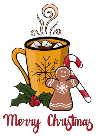 Merry Christmas postcard with yellow mug of hot drink with marshmallow. Atmospheric winter hot drink with Holly berries, candy and gingerbread. Winter greeting card
