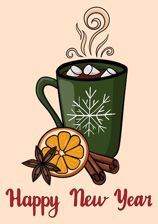 Happy New year postcard with green mug of hot drink with marshmallow. Atmospheric winter hot drink with cardamom, orange and badian. Beautiful winter greeting card