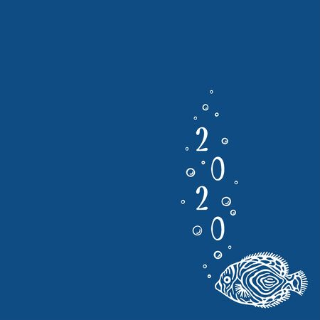 Background with copy place with marine fish. color is classic blue. Sea banner with fish and bubbles. New year 2020. Template for social media. Layout design use for aquarium shops, seaquarium.