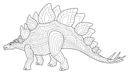 Stegosaurus dinosaur adult coloring book page. Vector lineart illustration isolated on white background. Anti stress coloring book page with doodle elements.