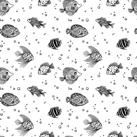 Outline pattern of fish with bubbles. Fish pattern on white background. Vettoriali