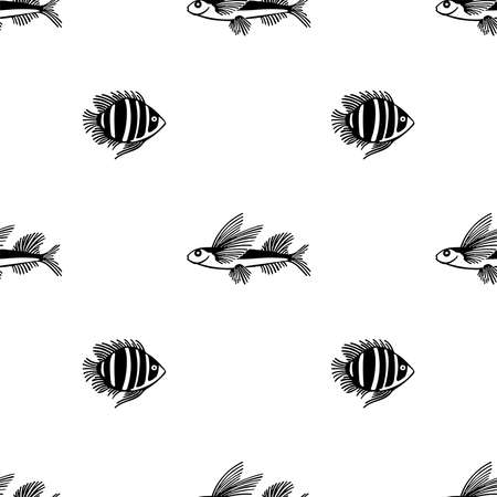 Seamless outline pattern of fish.Vector endless pattern. Fish pattern on white background. Design for fish market, shop, restaurant. For wrapping paper, box,scrapbooking, background Illusztráció