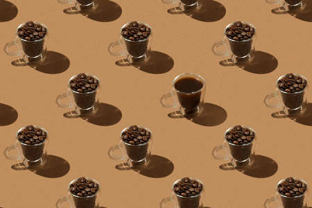 Brown pattern: glass cups with coffee beans and one glass cup with black coffee.