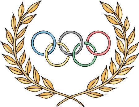 deportes olimpicos: Anillos olímpicos logotipo con el laurel Editorial