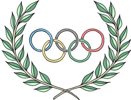 Anillos olímpicos logotipo con el laurel Foto de archivo - 57848232
