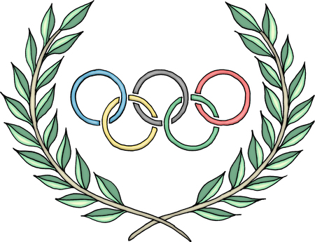 olympic rings: Olympic rings logo with laurel