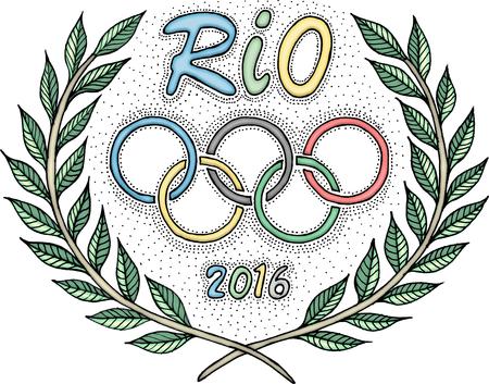 deportes olimpicos: R�o 2016 anillos ol�mpicos corona de laurel
