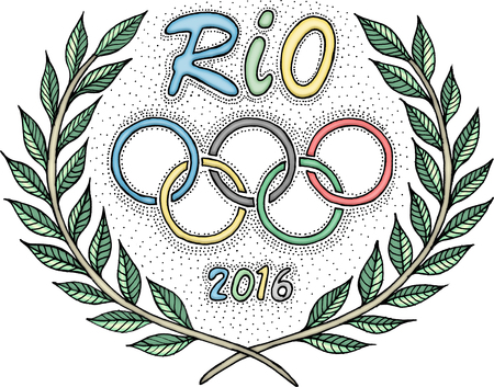 olympic rings: Rio 2016 Olympic rings laurel wreath
