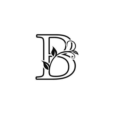 Outline deco floral letter B Icon, Luxury alphabet font for initial vector design. Vecteurs