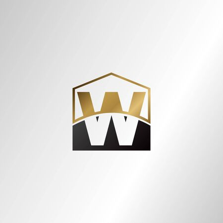 Golden house negative space letter W logo design template concept for business, real estate, hotel, construction and more identity.