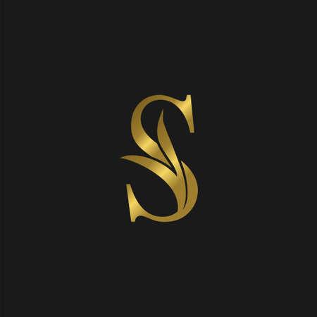 Golden Initial S Letter Luxury Logo vector template design.