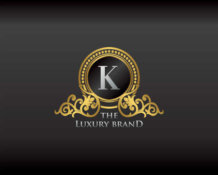 Gold Luxury Brand Letter K Elegant Logo Badge. Golden Letter Initial Crest, Wreath and Crown Monogram Design Vector Illustration.
