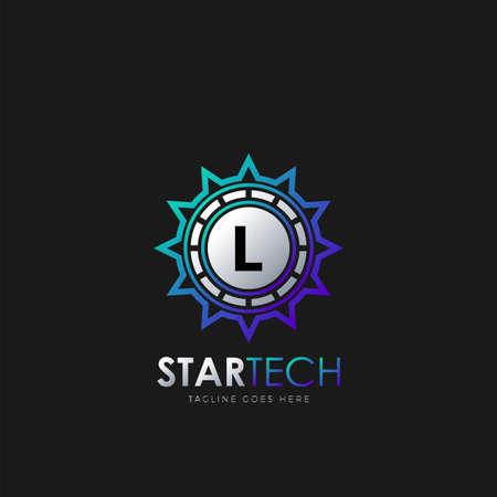 Modern L Initial logo design concept technology circle star logo template design