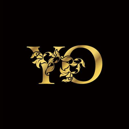 Golden Luxury Y and O, YO Letter Initial Logo Icon, Monogram Floral Leaf Logo Design. Logo