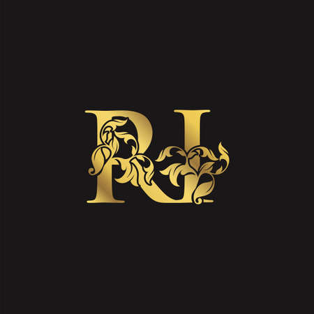Gold Ornate Luxury Floral R and I, RI Letter Initial Logo Icon, Monogram Nature Floral Leaf Logo Design.