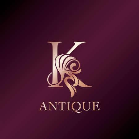 Antique Letter K Initial Logo Elegance Gold Rose Luxury Ornate Deco Swirl Shape Template Design. Ilustração