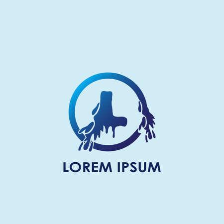 Blue Water Splash Initial Letter L Logo Icon Vector Template Design. Banco de Imagens - 156863389