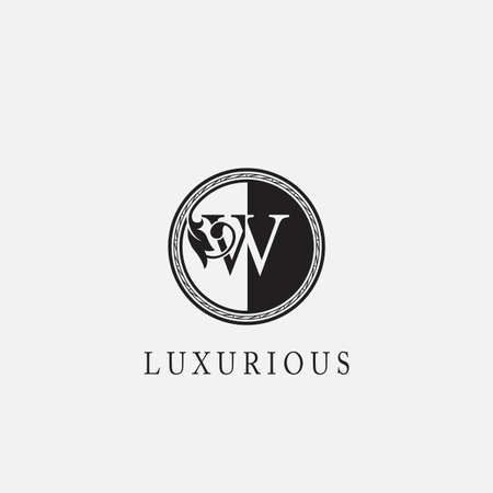 Vintage Circle W Letter Logo Icon. Classy Ornate Leaf Shape design on black and white color for business initial like fashion, Jewelry, Beauty Salon, Cosmetics, Spa, Hotel and Restaurant.