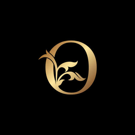 Golden Luxury Letter O Initial Logo Icon Template Design. Monogram ornate nature floral leaf with initial letter gold color for luxuries business identity.
