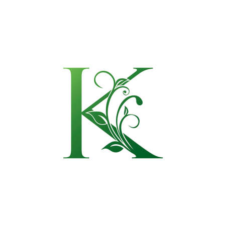 Green Ornate Floral Letter K logo Icon, Luxury alphabet font initial vector design isolated on white background color.