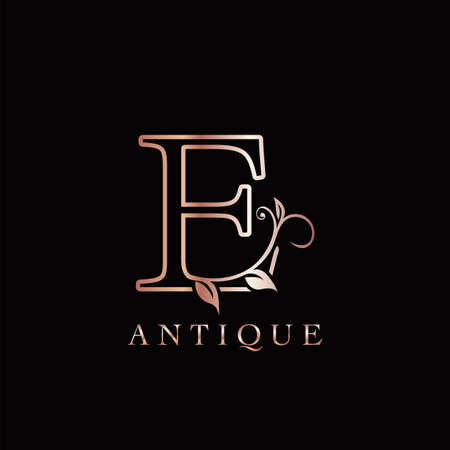 Gold Rose E Luxury Letter Logo Template Design. Monogram antique ornate nature floral leaf with initial letter gold rose color.