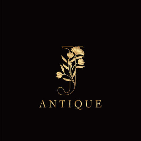 Golden Letter J Luxury Flowers Initial Logo Template Design. Monogram antique ornate nature floral leaf with initial letter.
