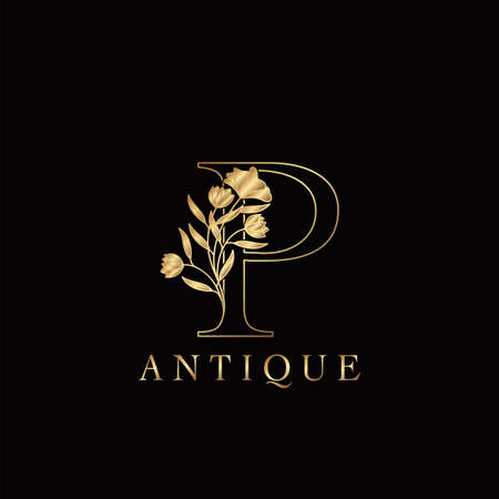 Golden Letter P Luxury Flowers Initial Logo Template Design. Monogram antique ornate nature floral leaf with initial letter.