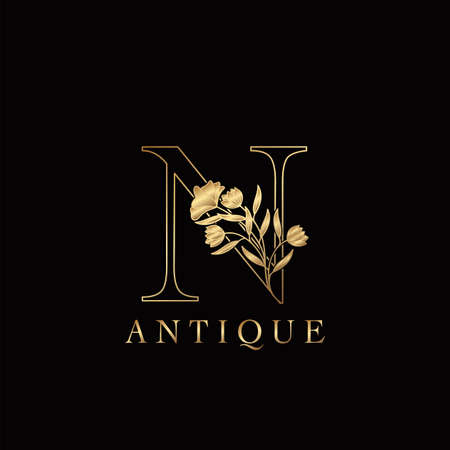 Golden Letter N Luxury Flowers Initial Logo Template Design. Monogram antique ornate nature floral leaf with initial letter.