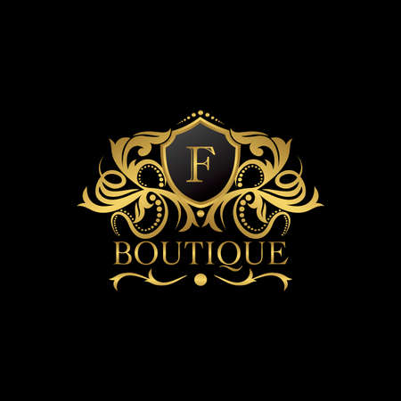 Luxury Boutique Gold F Letter Logo template in vector design for Decoration, Restaurant, Royalty, Boutique, Cafe, Hotel, Heraldic, Jewelry, Fashion and other vector illustration