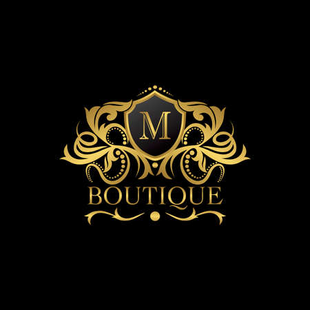 Luxury Boutique Gold M Letter Logo template in vector design for Decoration, Restaurant, Royalty, Boutique, Cafe, Hotel, Heraldic, Jewelry, Fashion and other vector illustration