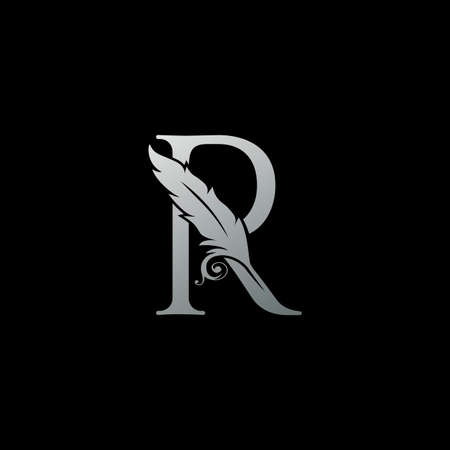 Luxury Feather Letter R logo Icon. Monogram logo template design concept for identity of law, lawyer, legal officer, firm, notary 向量圖像
