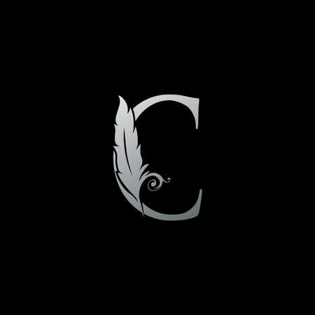 Luxury Feather Letter C logo Icon. Monogram logo template design concept for identity of law, lawyer, legal officer, firm, notary