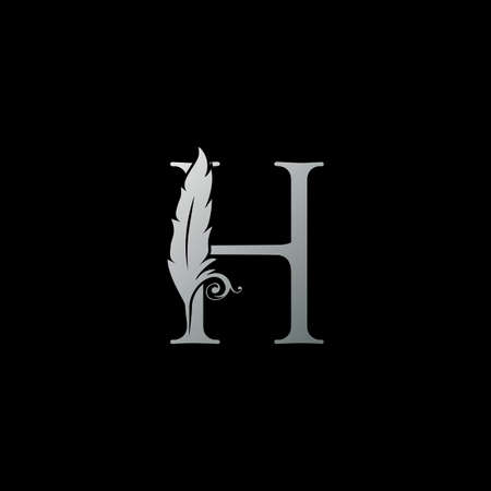 Luxury Feather Letter H logo Icon. Monogram logo template design concept for identity of law, lawyer, legal officer, firm, notary