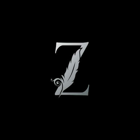 Luxury Feather Letter Z logo Icon. Monogram logo template design concept for identity of law, lawyer, legal officer, firm, notary