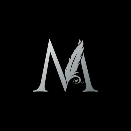 Luxury Feather Letter M logo Icon. Monogram logo template design concept for identity of law, lawyer, legal officer, firm, notary 向量圖像