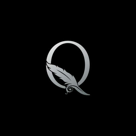 Luxury Feather Letter Q logo Icon. Monogram logo template design concept for identity of law, lawyer, legal officer, firm, notary 向量圖像