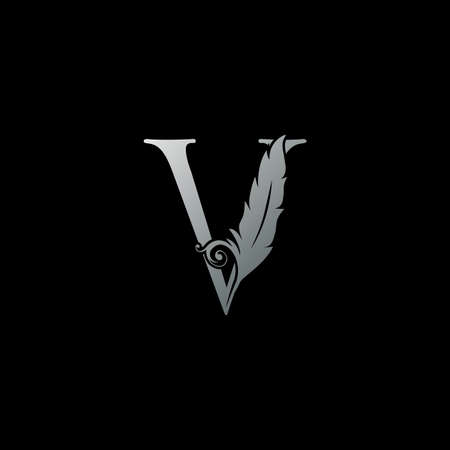 Luxury Feather Letter V logo Icon. Monogram logo template design concept for identity of law, lawyer, legal officer, firm, notary