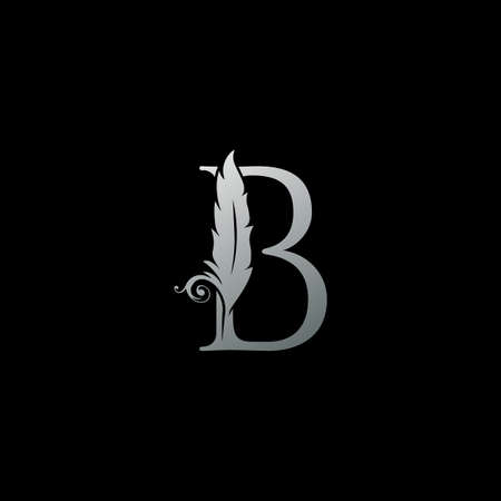 Luxury Feather Letter B logo Icon. Monogram logo template design concept for identity of law, lawyer, legal officer, firm, notary