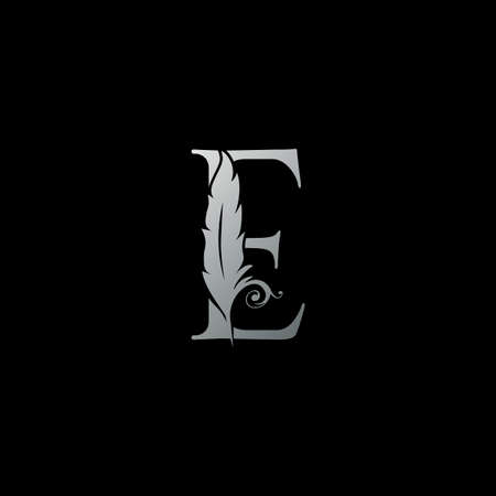 Luxury Feather Letter E logo Icon. Monogram logo template design concept for identity of law, lawyer, legal officer, firm, notary