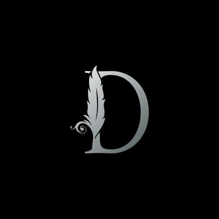 Luxury Feather Letter D logo Icon. Monogram logo template design concept for identity of law, lawyer, legal officer, firm, notary 向量圖像
